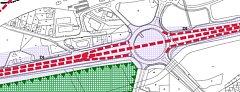 Nákres plánované trasy silnice I/11 skrz kruhový objezd v Havířově.
