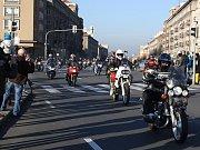 Vánoční vyjížďka motorkářů v Havířově.