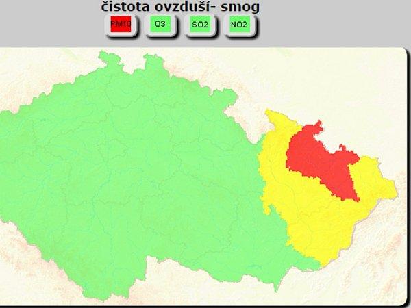 Signál regulace na Opavsku a Novojičínsku.