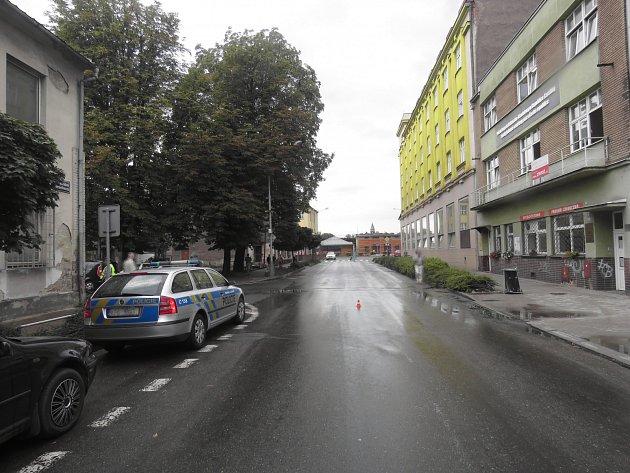 Místo dopravní nehody vČeském Těšíně.