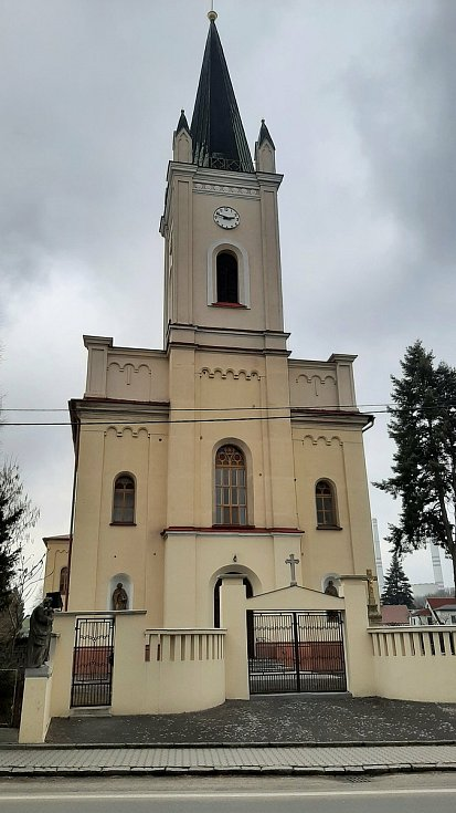 Dětmarovice. Katolický kostel v centru obce.