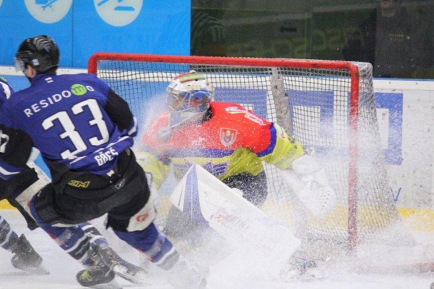 Také třetí čtvrtfinále mezi hokejisty Havířova (vmodrém) a Českých Budějovic nabídl parádní hokej.