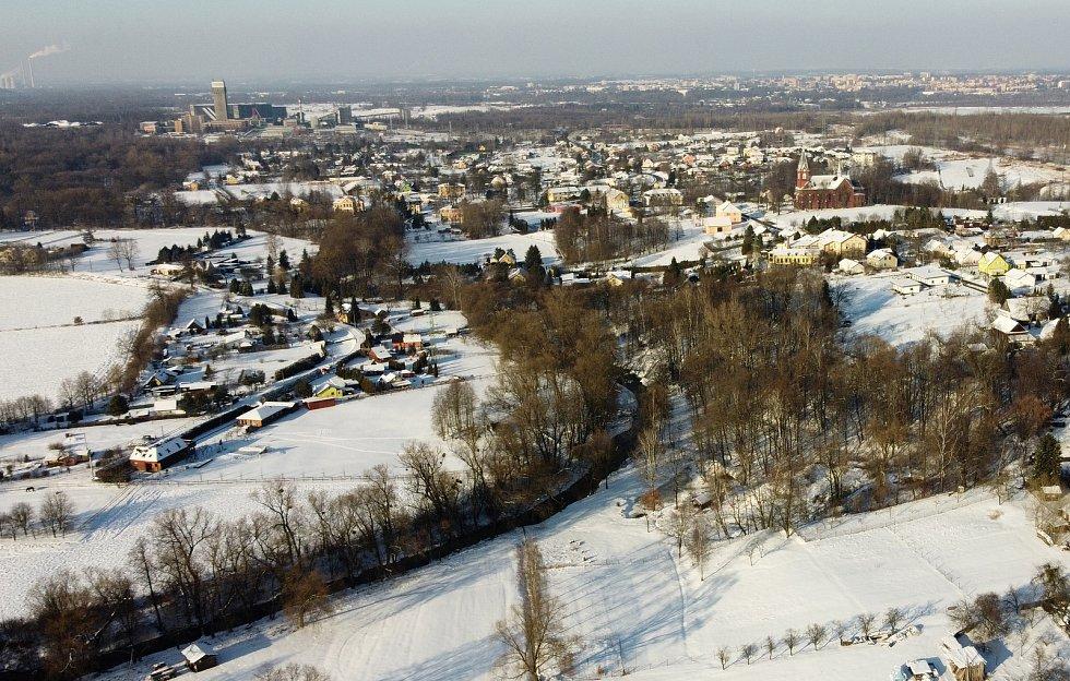 Letecké záběry zimní Stonavy. Foto: archiv obce