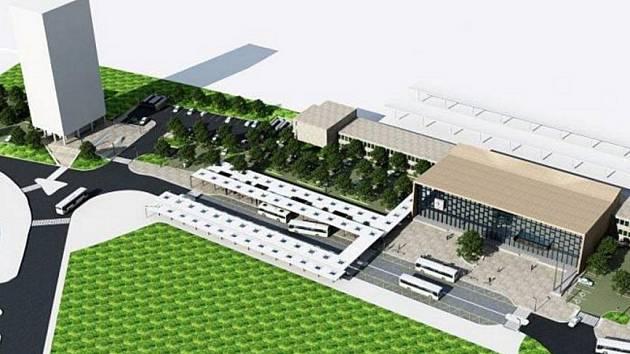 Vítězná varianta budoucí podoby přednádražního prostoru u železniční stanice v Havířově.