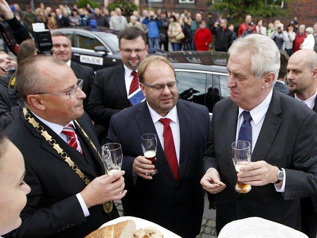 Prezident Miloš Zeman na návštěvě v Bohumíně.