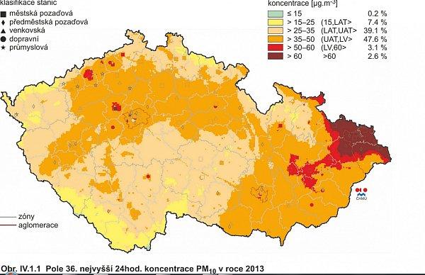 Mapa znečištění ovzduší.
