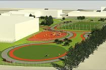 Do konce roku by mělo vyrůst za budovou Obchodní akademie  v Karviné nové multifunkční sportoviště. Takto by mělo vypadat.