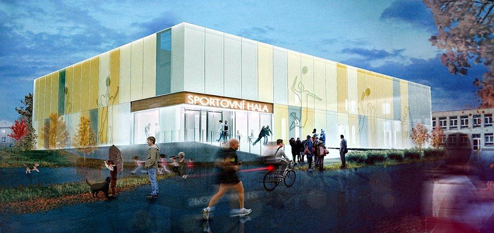 Vizualizace sportovní haly, kterou chce obec postavit u základní školy.  Vizualizace: OÚ Dolní Lutyně