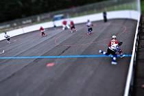 Ne, to není stolní hokej, jen povedený záběr fotoreportéra z utkání Karviná - Jindřichův Hradec.