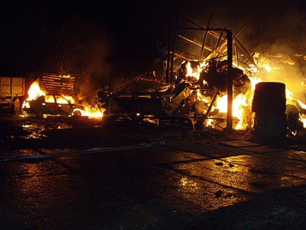 Noční požár v Bohumíně