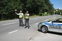 Kontrolní stanoviště policistů.