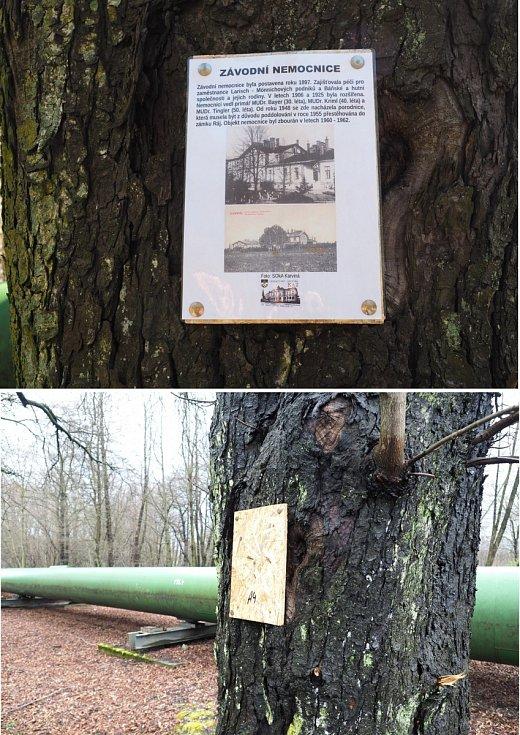 Vandaly poničená práce příznivců karvinské historie v Karviné-Dolech, duben 2021.