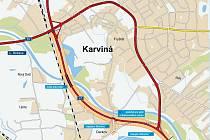 Mapka znázorňuje trasu budoucího obchvatu Karviné.