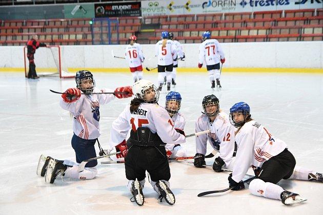 Karvinské hokejistky (vbílém) proti Litvínovu.