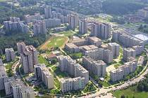 Letecký pohled na sídliště V. etapa v Orlové.