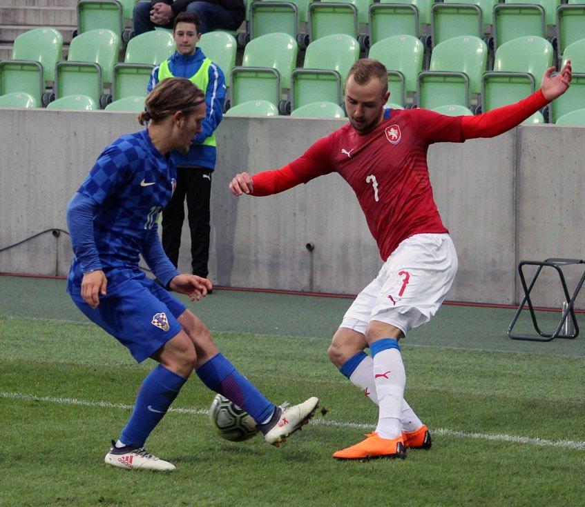 Česká lvíčata (v červeném) zdolala stejně staré Chorvaty 2:1.