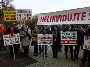 Demonstrace orlovanů v Ostravě