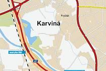 Mapa trasy obchvatu Karviné.