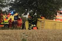 Zásah záchranářů u nehody v Horní Suché.
