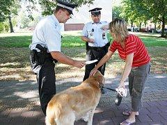 Strážníci při kontrole psa, zda má povinný elektronický čip.