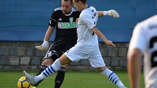 Brankářská dvojka Karviné Martin Pastornický (v černém).