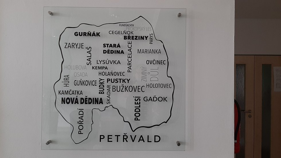 Petřvald. Mapka s názvy místních částí Petřvaldu.