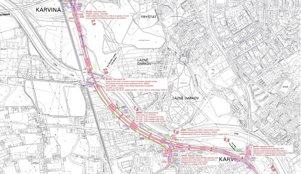 Plán budoucího silničního obchvatu Karviné