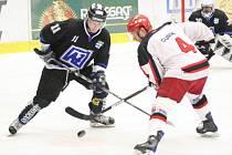 Havířovští hokejisté (černé dresy) první semifinále jasně ovládli a ujali se v sérii s Prostějovem zaslouženě vedení 1:0.