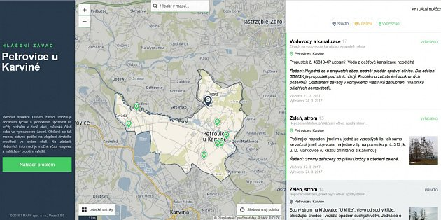 Na začátku roku spustili webovou aplikaci na hlášení závad také v Petrovicích.