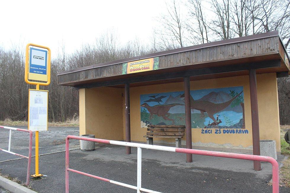 Doubrava. zastávka před bývalou šachtou