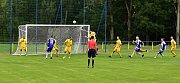 Derby Dolní Lutyně - Albrechtice (v modrém) skončilo výsledkem 1:4.