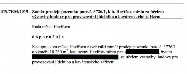 Usnesení Rady města Havířova zžádosti na stavbu McDonald´spřed nádražím.