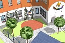 Škola na třídě Dr.E.Beneše by měla mít nový školní dvůr v této podobě již letos na podzim.