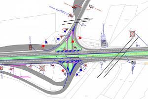 Návrh dopravního řešení v Ostravské ulici.