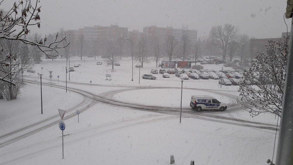 Sněhová nadílka v Karviné.