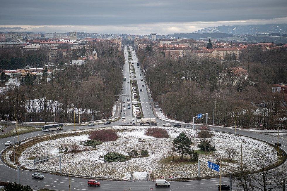 Pohled na město Havířov, 3. února 2021.
