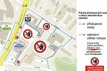 Mapka ukazuje, kde bude znemožněn průchod chodců v centru Orlové kvůli stavbě náměstí. Platí to od 15. února do odvolání.