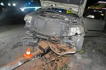 Následek nehody u přejezdu.