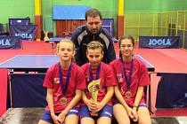 Česká děvčata s trenérem Martinem Linertem.
