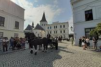 Valter Broda vozí po Fryštátě v kočáre taženém koňmi turisty.
