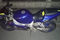 Zajištěný motocykl.