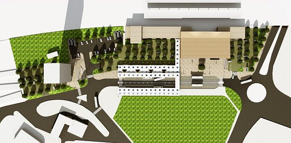 Návrh prostoru před havířovskou železniční stanicí. Varianta 3.