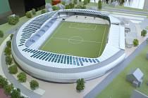 Model fotbalového stadionu.