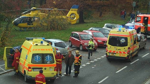 Nehoda, při které byla zraněna malá chodkyně.