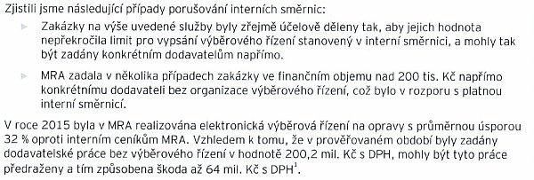 Výňatek zauditu MRA za období 2012až 2014.