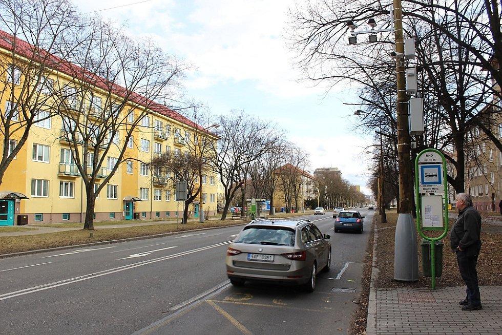 Úsekový radar na Národní třídě v Havířově. Vstupní bod měření.