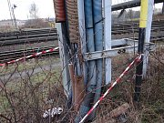 Následky požáru v bohumínské železniční stanici.