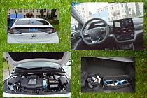 Zelená pro dopravu. Zadní část vozu, palubní deska, nabíječky, motor.