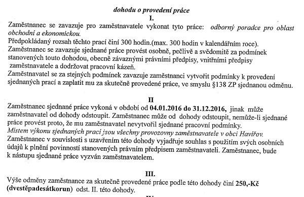 Radní obdrželi kopii smlouvy sporadcem.