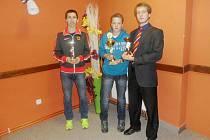 Tři nejlepší atleti Havířova. Zleva Karel Ketner, Karel Pinkas (bratr Michala, který se nemohl zúčastnit) a Vít Polášek.